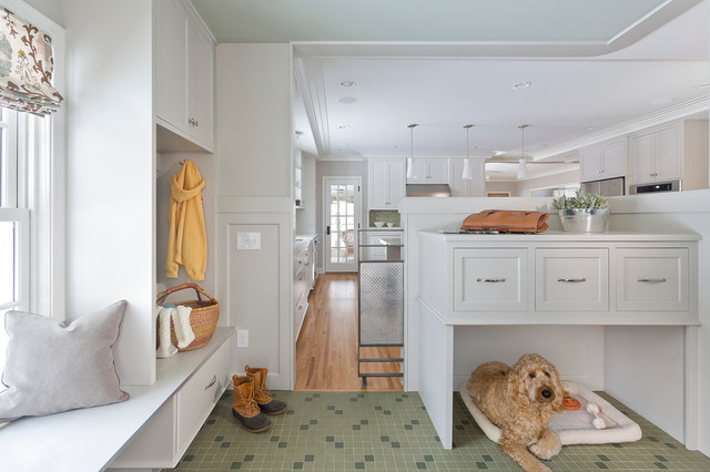 Freestanding Pet Gate Entry Transitional with Dog Bed Green Floor Tile Roman Shade