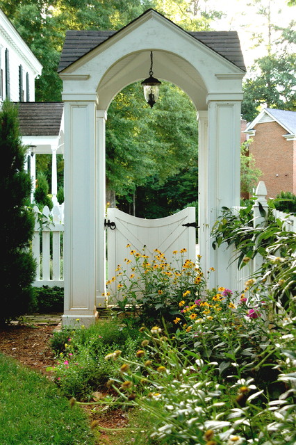 Freestanding Pet Gate Landscape Traditional with Bushes Covered Entry Garden Garden Entry Grass Hanging Lantern