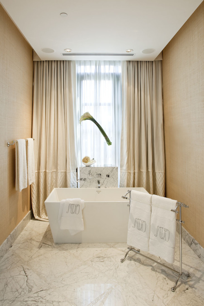 freestanding tub faucet Bathroom Contemporary with ceiling lighting curtains drapes drop ceiling freestanding