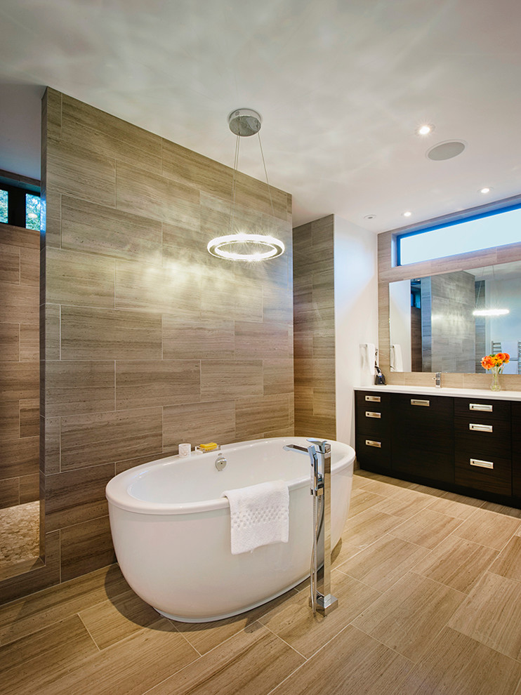 Freestanding Tubs Bathroom Contemporary with Antique Travertine Honed Tile Brown Tile Floor