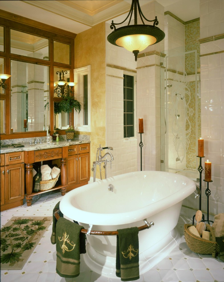 Freestanding Tubs Bathroom Traditional with Accent Tile Accent Wall Bath Accessories Bath
