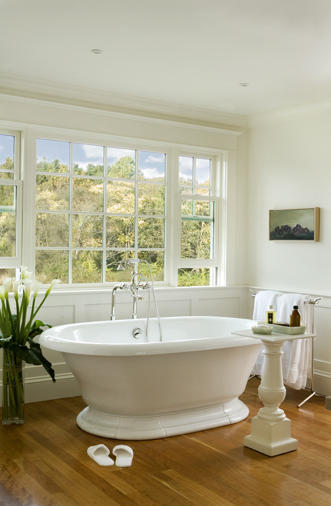 freestanding tubs Bathroom Traditional with floor mount tub filler frame and panel