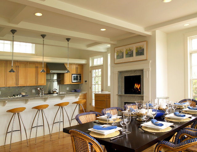 French Bistro Chairs Kitchen Beach with Cabinets Coffered Ceiling Counter Dark Wood Dining Table Dining