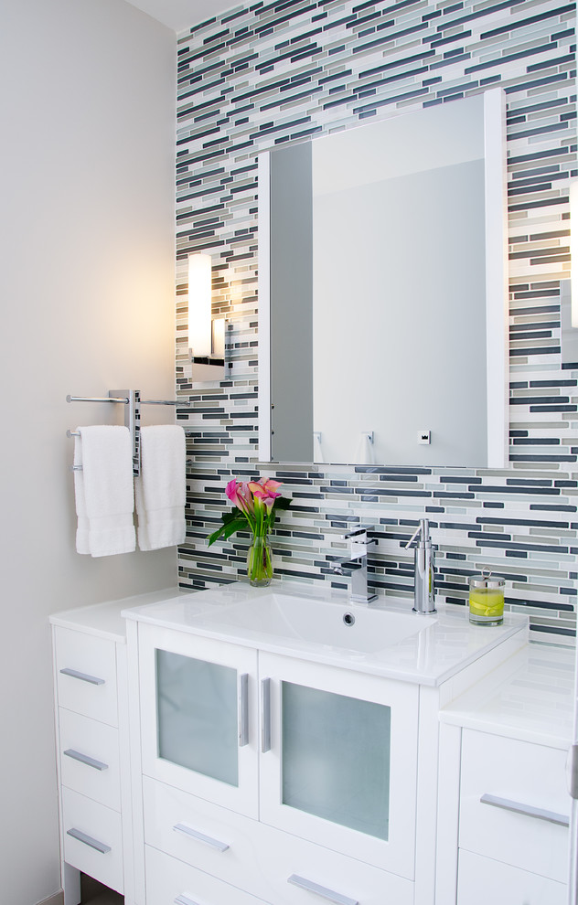 fresca vanity Bathroom Contemporary with accent tile accent wall bathroom sconces Glass