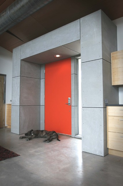 Front Door with Sidelights Entry Industrial with Architects Architecture Austin Baggett City Colorful Front Door Concrete1