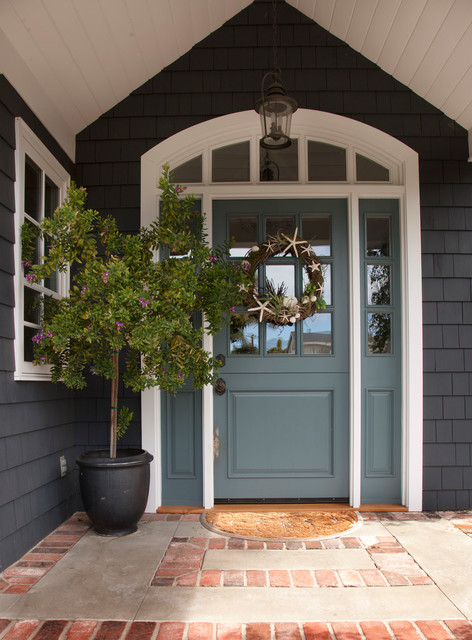 Front Door with Sidelights Entry Traditional with Beach Cottage Blue Door Brick Classical Coastal Entry Front1