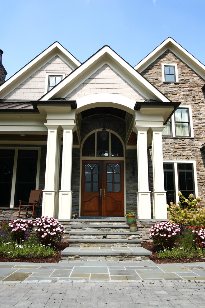 Front Porch Columns Exterior Traditional with Blue Stone Brown Metal Roof Column Dark