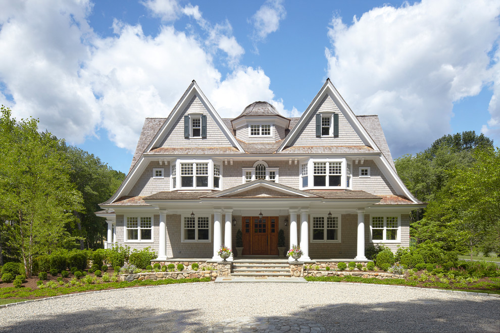 Front Porch Columns Exterior Victorian with Circular Drive Columns Divided Lights Dormers Entrance