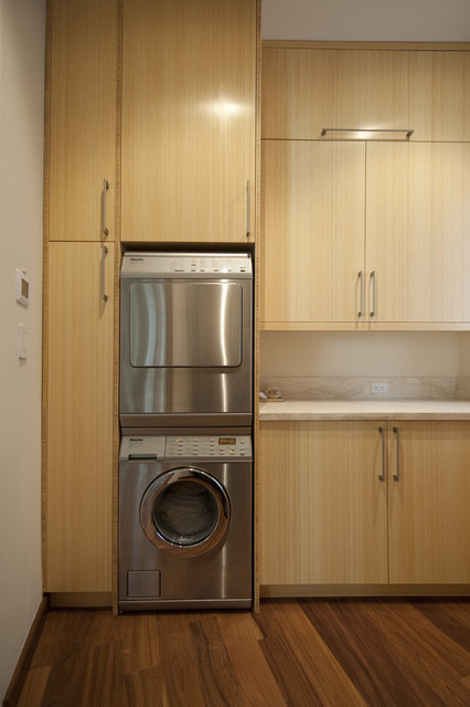 Full Size Stackable Washer and Dryer Laundry Room Contemporary with Blonde Wood Built in Storage Front Load Washer And