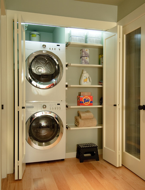 Full Size Stackable Washer and Dryer Laundry Room Contemporary with Clean Front Loading Washer and Dryer Green Walls Laundry Closet