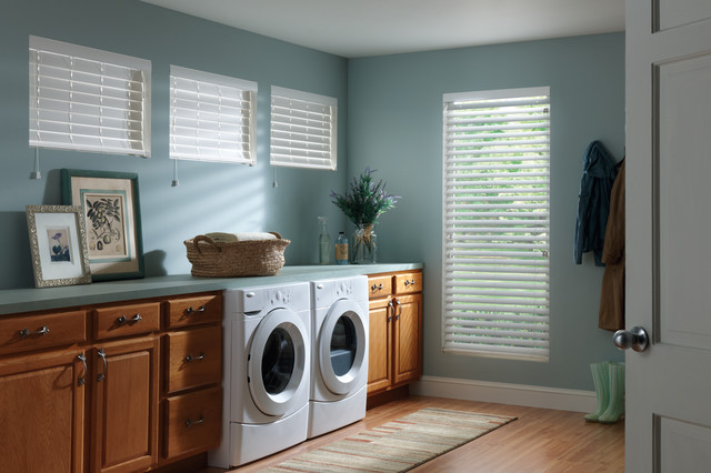Full Size Stackable Washer and Dryer Laundry Room Traditional with Blinds Curtains Drapery Drapes Faux Wood Blinds Roman Shades