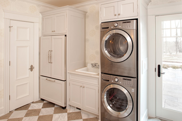 Full Size Stackable Washer and Dryer Laundry Room Traditional with Brown Checkerboard Floor Cool Light Fixtures Farm Sink Frame