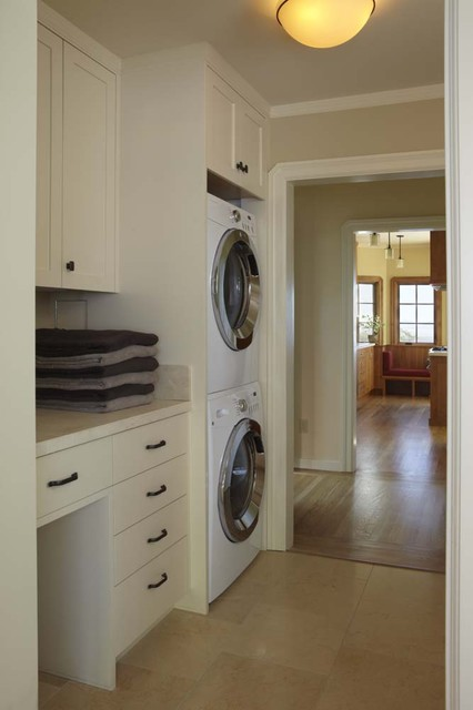 Full Size Stackable Washer and Dryer Laundry Room Traditional with Built in Cabinets Ceiling Light Drawers Frame and Panel