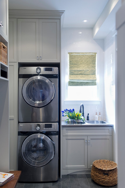 Full Size Stackable Washer and Dryer Laundry Room Transitional with Double Sink Gray Cabinets Gray Drawers Laundry Room Sink