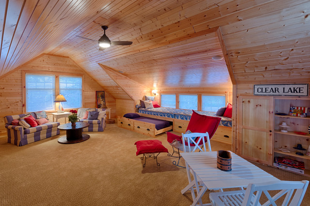 Full Trundle Bed Family Room Beach with Attic Blinds Blue and White Built in Cabinets Ceiling Fan