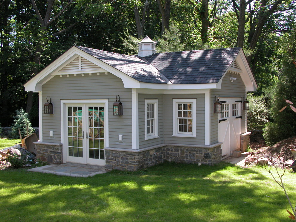 Gable Vents Garage and Shed Traditional with Cross Gable Roof Cupola French Doors Grass