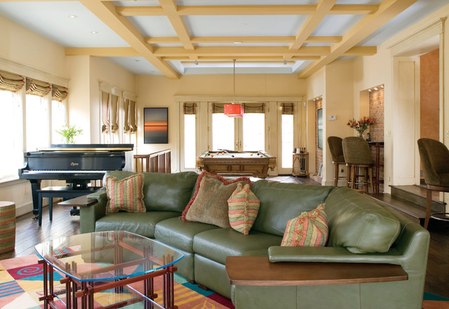 Gaming Recliner Family Room Traditional with Area Rug Coffee Table Coffered Ceiling Dark Floor Game