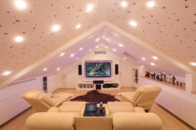 Gaming Recliner Home Theater Contemporary with Action Figure Collection Animal Hide Rug Attic Space Big