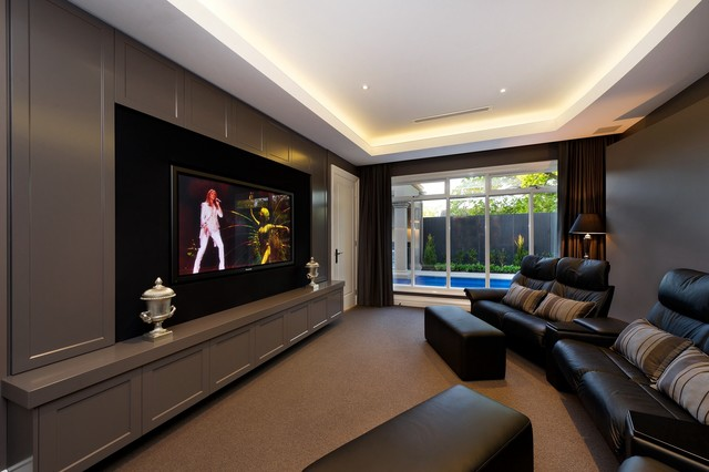 Gaming Recliner Home Theater Contemporary with Black Double Recliner Black Footstool Built in Wall Unit