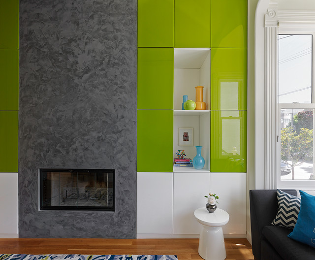 Garage Cabinets Ikea Living Room Contemporary with Built in Storage Built Ins Crown Molding Fireplace Lime Green Modern1