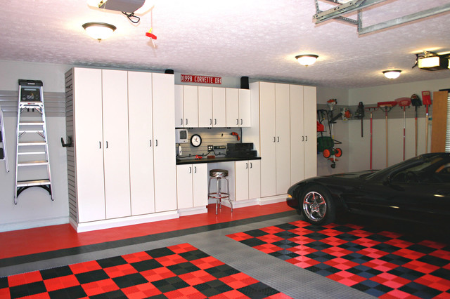 garage workbench Garage And Shed Traditional with black car black corvette CEILING LIGHT checkered floor checkered