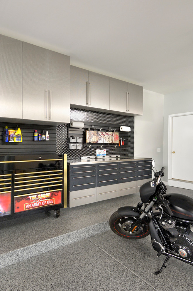 Garage Workbench Ideas Garage and Shed Contemporary with Beige Cabinets Built in Cabinets Concrete Garage Floor