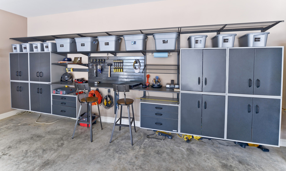 Garage Workbench Ideas Garage and Shed Contemporary with Concrete Floor Counter Stools Floating Cabinets Garage