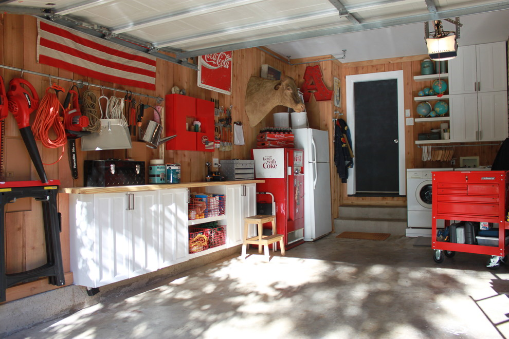 Garage Workbench Ideas Garage and Shed Eclectic with American Flag Cabinets Cedar Lined Coca Cola Concrete