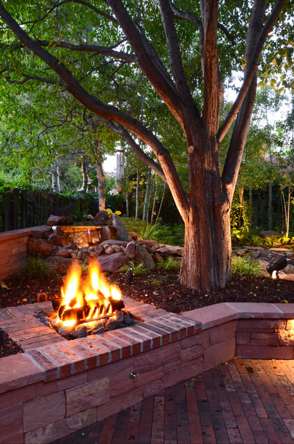 Gas Fire Pit Kit Landscape Traditional with Backyard Boulders Brick Brick Fire Pit Brick Fireplace Co