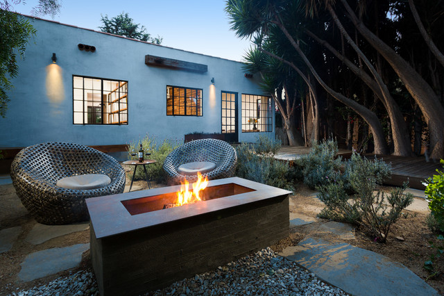 Gas Fire Pit Kit Patio Contemporary with Deck Exterior Firepit Flagstone Metal Chairs Outdoor Living Plants