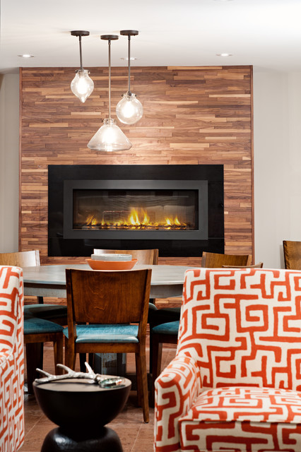 Gas fireplace ventless living room contemporary with for Contemporary ventless gas fireplace