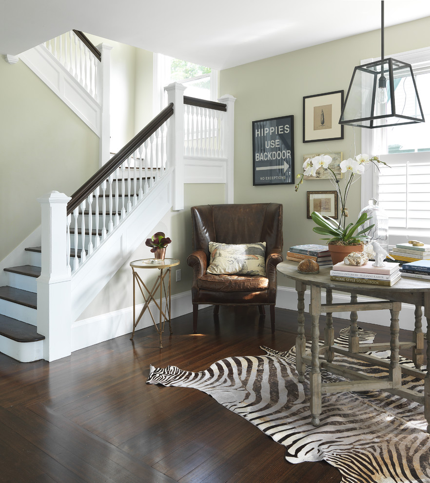 Gateleg Table Staircase Traditional with Banister Baseboards Contemporary Dark Floor Entrance Entry