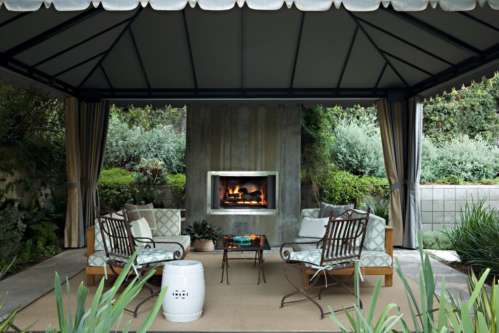 Gazebo Canopy Patio Transitional with Area Rug Concrete Fireplace Container Plant Covered