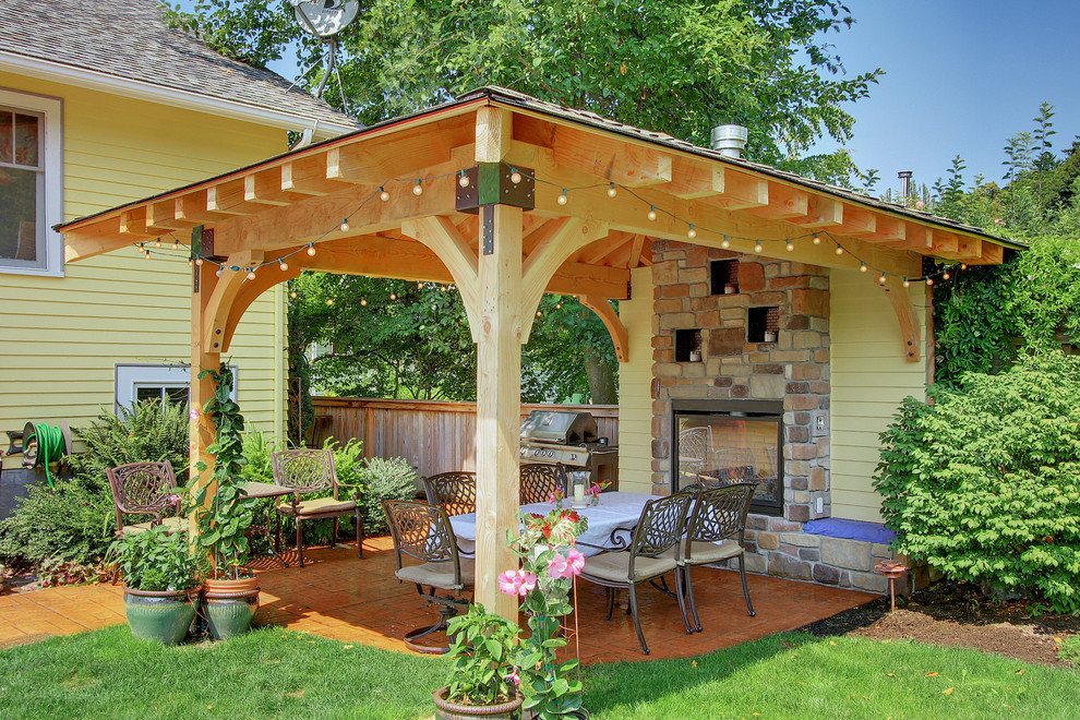 Gazebo Designs Patio Traditional with Arts Crafts Built in Container Plant Covered