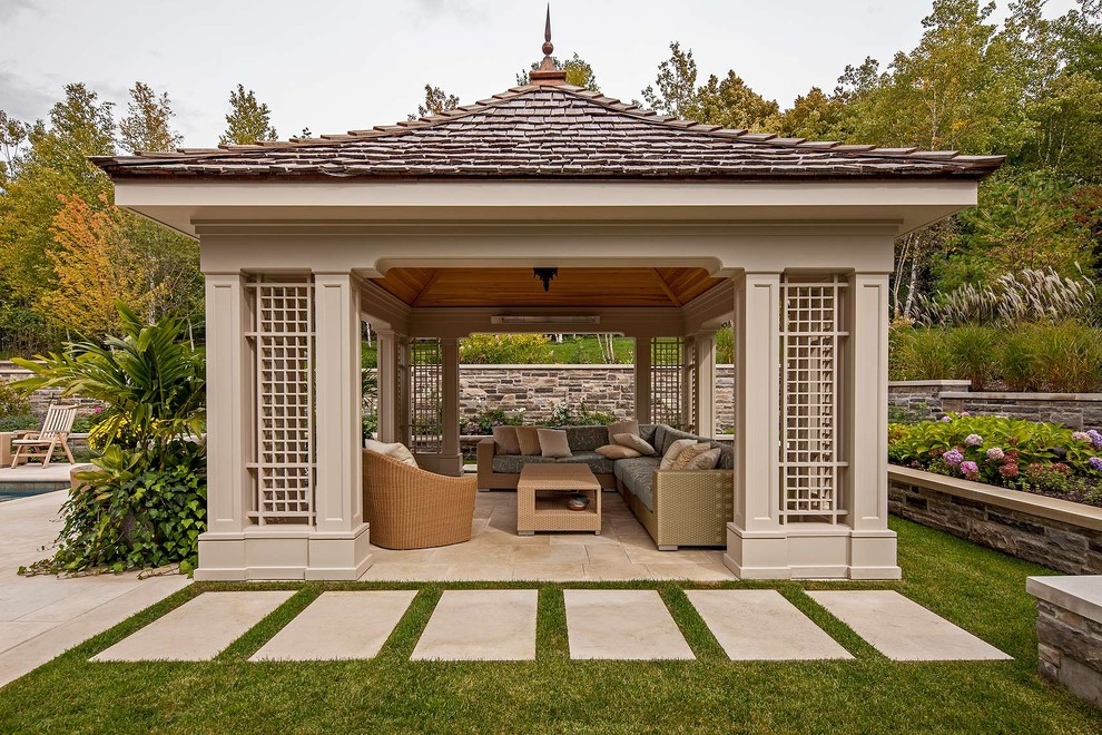 Gazebo Designs Patio Traditional With Armchairs Covered Patio  Cushions Grass Landscape Outdoor