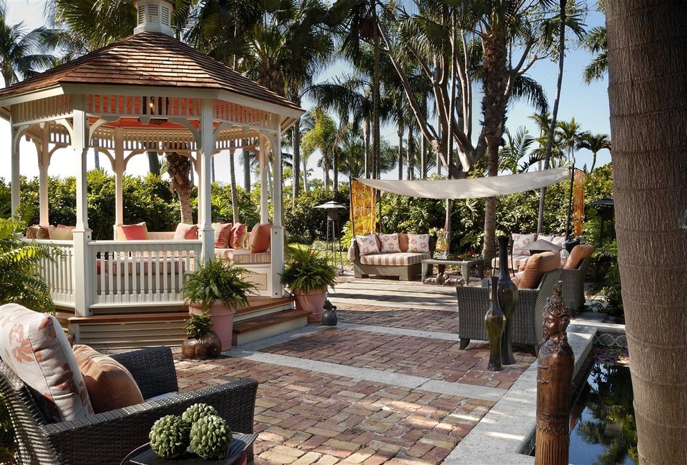 Gazebo Designs Patio Tropical with Awning Basketweave Pattern Brick Paving Container Plants