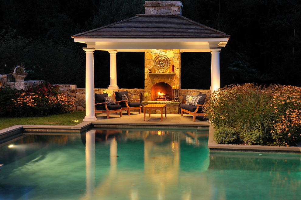 Gazebo Designs Pool Traditional with Arched Fireplace Fire Place and Pool Orange