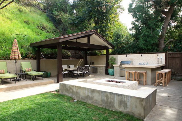 Gazebo Kits Patio Eclectic with Chaise Longue Chaise Lounge Concrete Paving Concrete Seat Wall