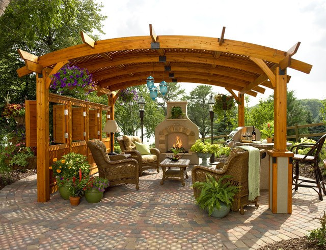 gazebo kits Patio Traditional with barbecue brick paving container plants grill hanging basket plants