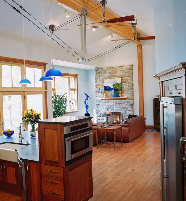 Ge Advantium Kitchen Eclectic with Apron Sink Brown Leather Dark Stained Wood Farm Sink