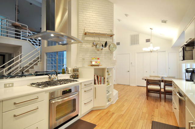 Ge Cafe Double Oven Kitchen Contemporary with Brick Wall Contemporary Custom Cabinetry Drop in Cook Top Eat In