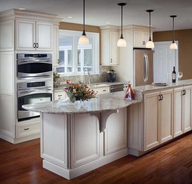 Ge Cafe Double Oven Kitchen Traditional with Brown Wall Ceiling Lighting Double Oven Granite Backsplash Granite