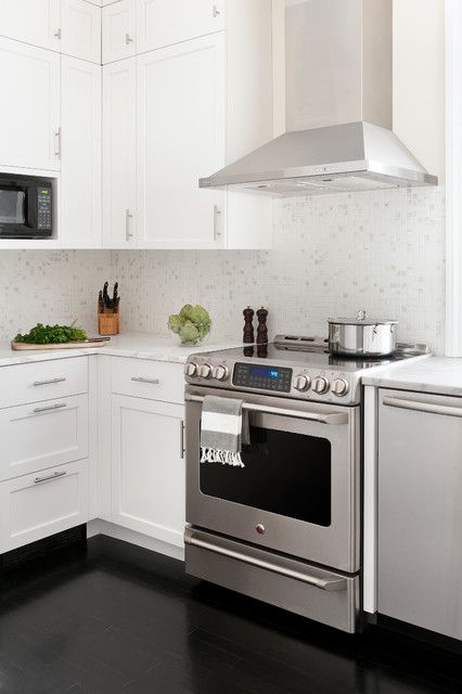 Ge Cafe Double Oven Kitchen Transitional with Black Floor Black Floors Black Microwave Boston Bright Calcutta