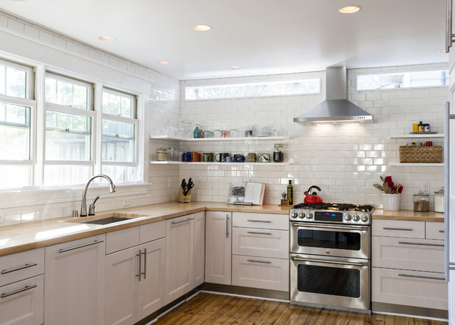 Ge Cafe Double Oven Kitchen Transitional with Butcher Block Chimney Hood Clerestory Windows Double Hung Windows