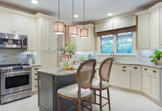 Ge Cafe Series Kitchen Traditional with Counter Chairs Neutral Pendant Lights Range Under Cabinet Lighting