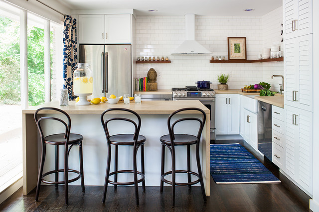 Ge Cafe Series Kitchen Transitional with 3x6 Subway Tile Beige Countertop Blue Accents Blue And