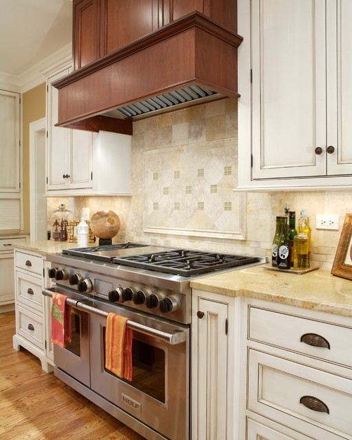 Ge Double Oven Gas Range Kitchen Traditional with Beige Countertop Cup Pulls Recessed Panel Cabinets Under Cabinet