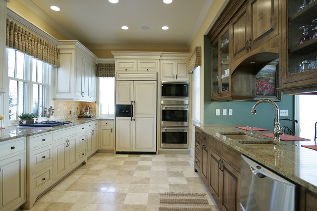 Ge Double Oven Gas Range Kitchen Traditional with Dark Stained Wood Cabinets Frame and Panel Glass Front