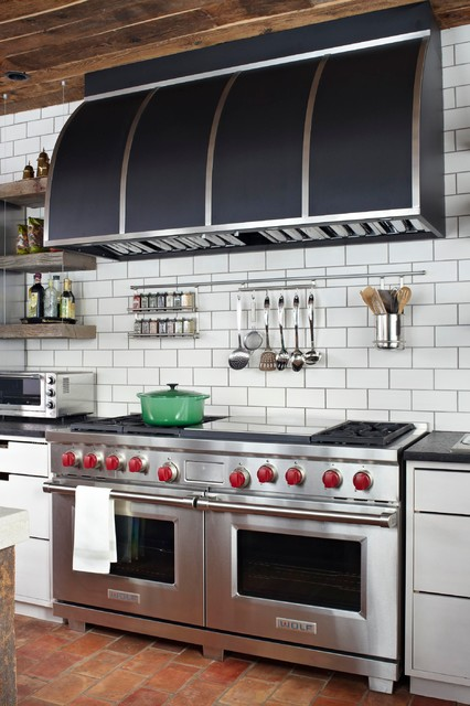 ge double oven gas range Kitchen Transitional with black range hood cut out pulls double oven floating