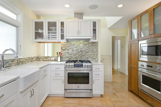 Ge Monogram Oven Kitchen Contemporary with Apron Front Sink Bullet Tiles Ceiling Lighting Farmhouse Sink